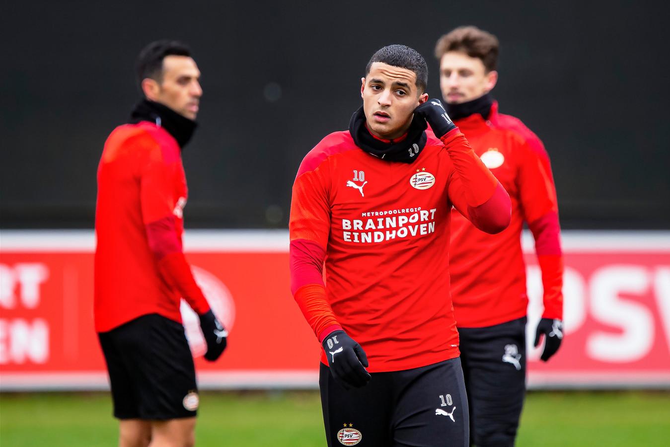 Mohamed Ihattaren op het trainingscomplex van PSV.