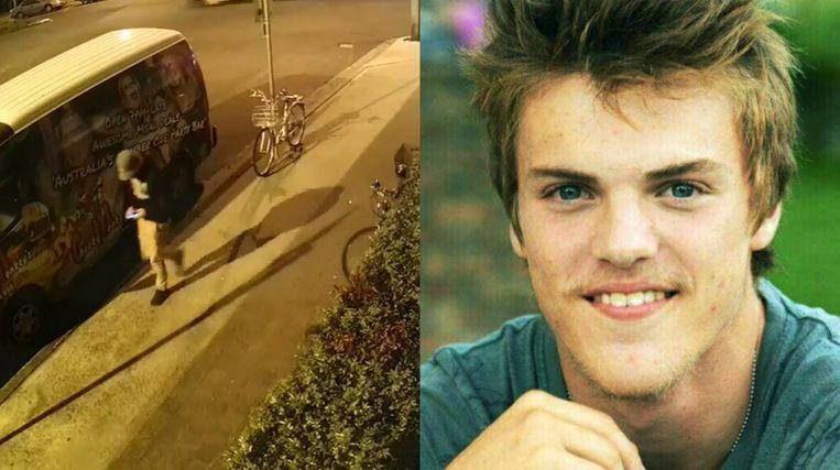 Theo Hayez op de laatste beelden die van hem genomen zijn (links): hij heeft duidelijk zijn telefoon bij.