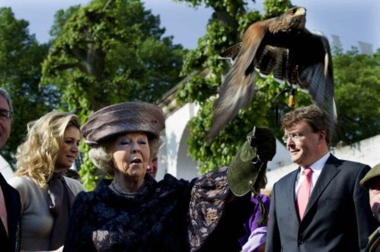 Koningin Beatrix houdt in Thorn een woestijnhavik op haar hand. ANP Beeld