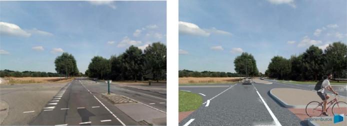 De oude (links) en nieuwe situatie op de Hoofakker (N615) in Lieshout, ter hoogte van de Deense Hoek (weg links).