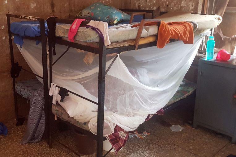 De slaapvertrekken van de leerlingen van de Bethel Baptist-school, waar de gewapende mannen binnenvielen.  Beeld AFP