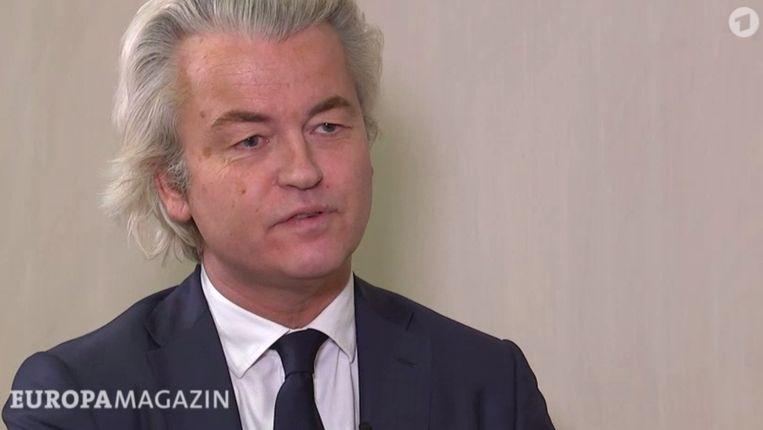 Geert Wilders tijdens het interview met de Duitse tv. Beeld RV