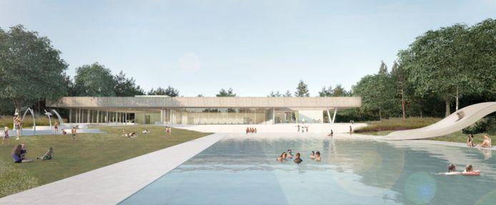 Het toekomstige binnenbad van de Koerbelt in Rijssen, gezien vanaf de kant van het buitenbad.