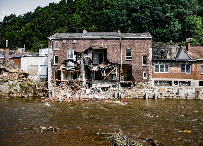 Une maison éventrée à Pepinster, le 22 juillet 2021.