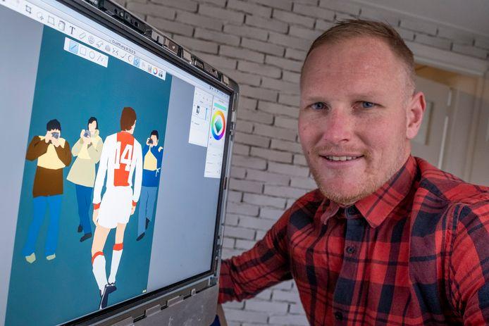 Marinus Baas in zijn 'digitale atelier' in Arnemuiden.
