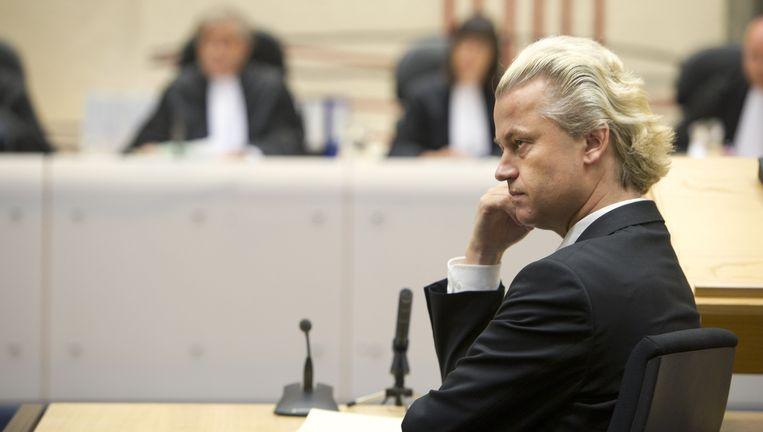 Geert Wilders in april 2011 tijdens een van de 23 zittingsdagen die het proces tegen hem toen in beslag nam. Beeld ANP