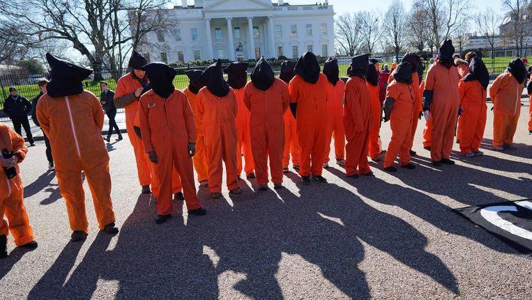 Protest voor de sluiting van Guantánamo Bay, 11 januari, 2016 Beeld anp