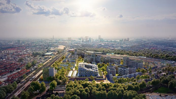 Op een artist impression van de Cartesiusdriehoek is de hoogbouw op het CAB-gebouw  duidelijk zichtbaar. Links de spoorlijn Utrecht-Amsterdam met station Zuilen, midden vooraan het wooncomplex bovenop het CAB-gebouw aan de Cartesiusweg.