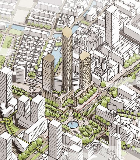 Megaproject in Rotterdam: drie wolkenkrabbers en eentje moet nóg hoger worden dan Zalmhaventoren