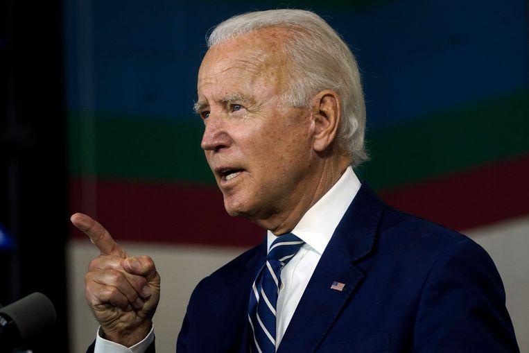 Volgens Biden hebben racisten wel geprobeerd president te worden, maar is Trump de eerste die is gekozen.  Beeld Getty Images