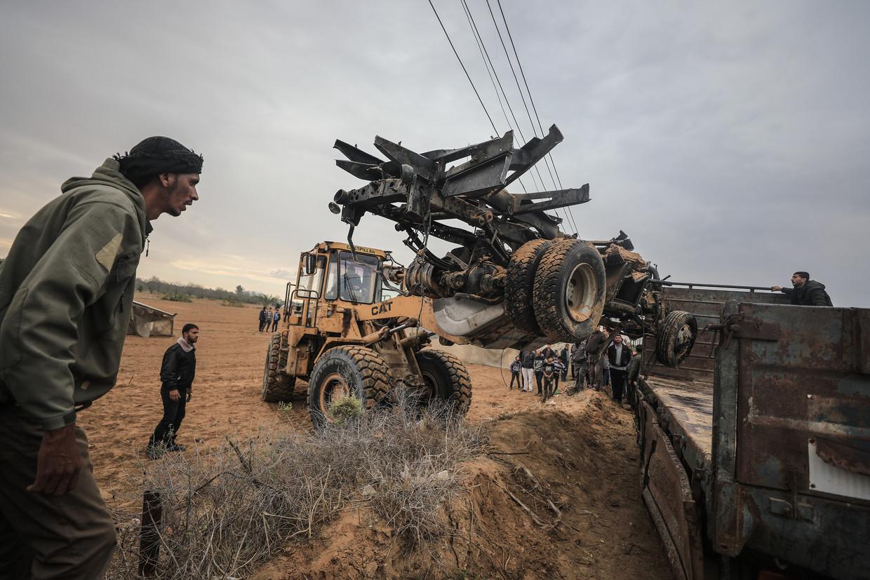 De wrakstukken van de voertuigen die door de Israëlische commando's werden gebruikt.