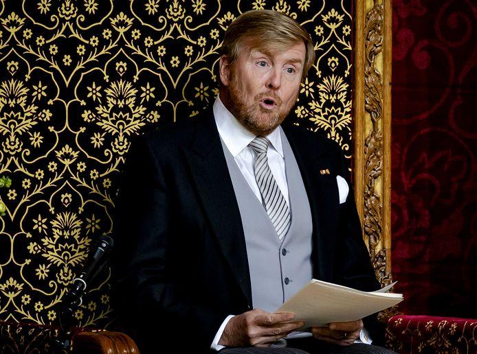 Le roi Willem-Alexander, le jour du Prinsjesdag, lors du discours du trône dans la Grote Kerk.