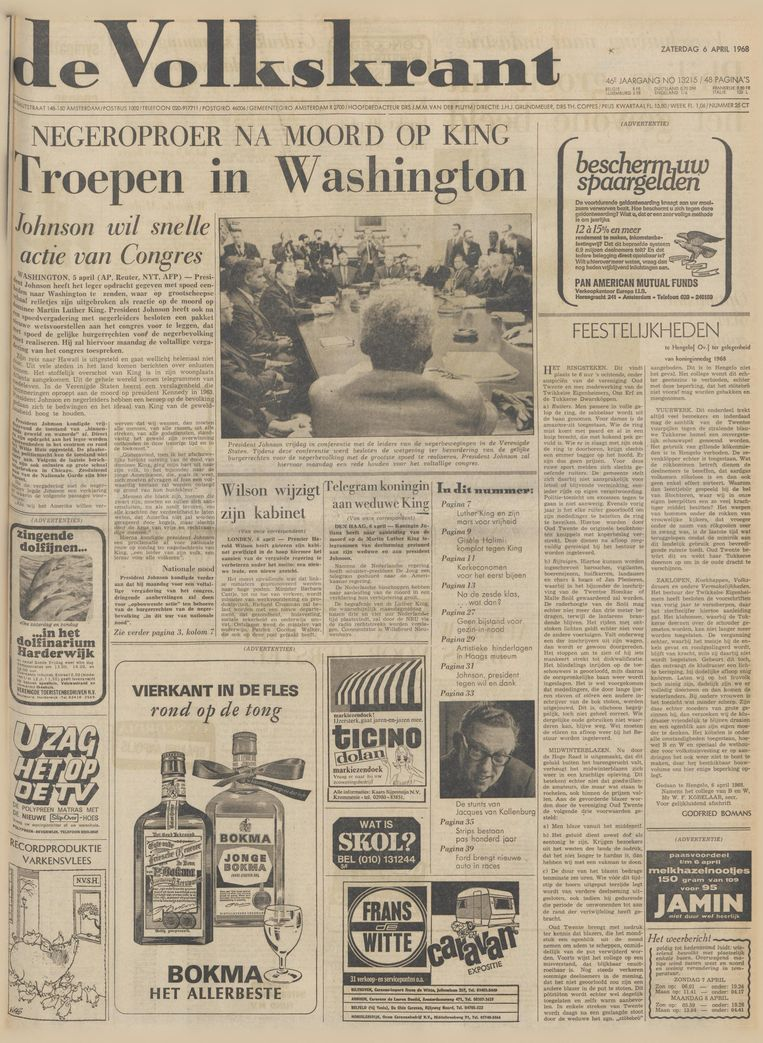 De Volkskrant van 6 april 1968 Beeld de Volkskrant