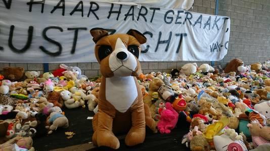 De 4.000 knuffels die werden achtergelaten op de tijdelijke gedenkplaats, liggen inmiddels opgeslagen bij het gemeentehuis.
