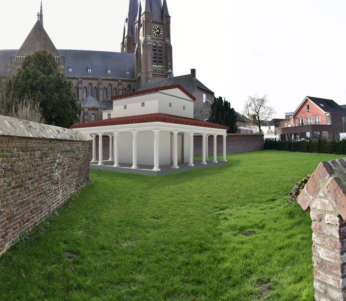 De tempellocatie met daarin gemonteerd een digitale impressie van het ontwerp van de tempel.