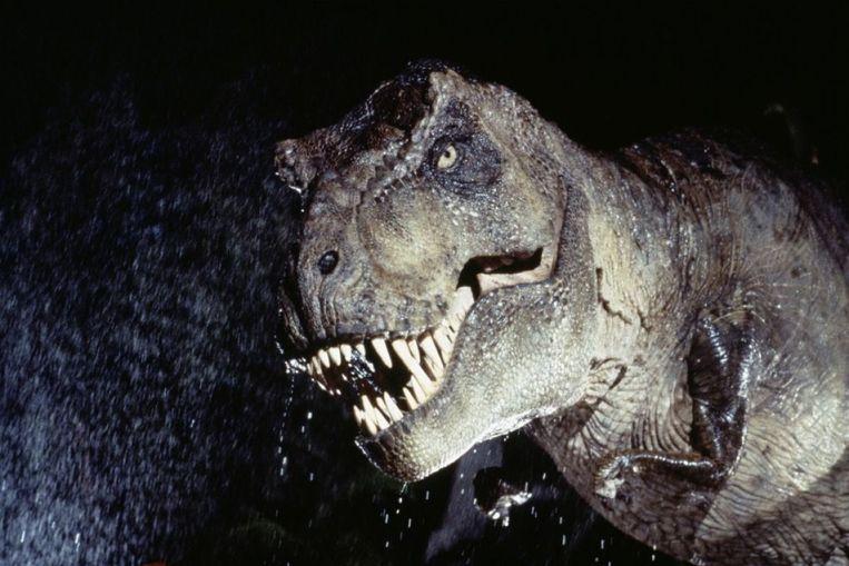 In de filmklassieker Jurassic Park rent hij bijna net zo snel als een auto; maar dat blijkt in werkelijkheid tegen te vallen.  Beeld TRbeeld