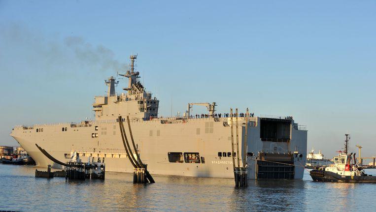 Het oorlogsschip Vladivostok in de haven van Saint-Nazaire, west-Frankrijk. Beeld AFP