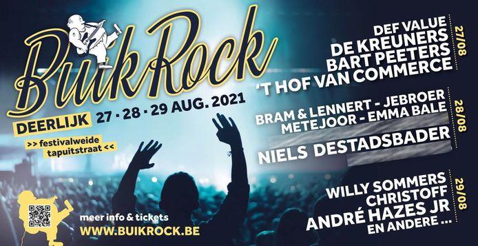 Buikrock heeft een mooie affiche. Drie namen worden nog niet prijs gegeven.