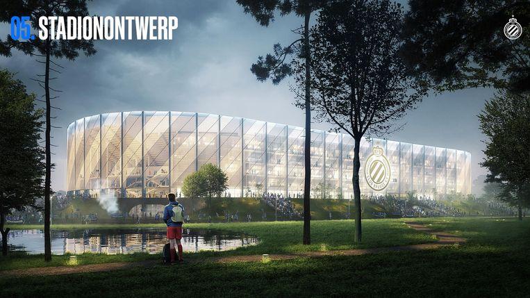 Een van de ontwerpen voor een nieuw stadion van Club Brugge op de Jan Breydelsite. Beeld Club Brugge