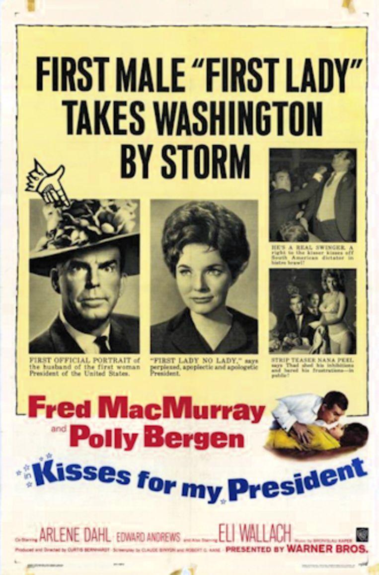 Filmposter van Kisses for my president waarin Polly Bergen te zien is als de Amerikaanse president Leslie McCloud. Beeld Warner Bros. Picture