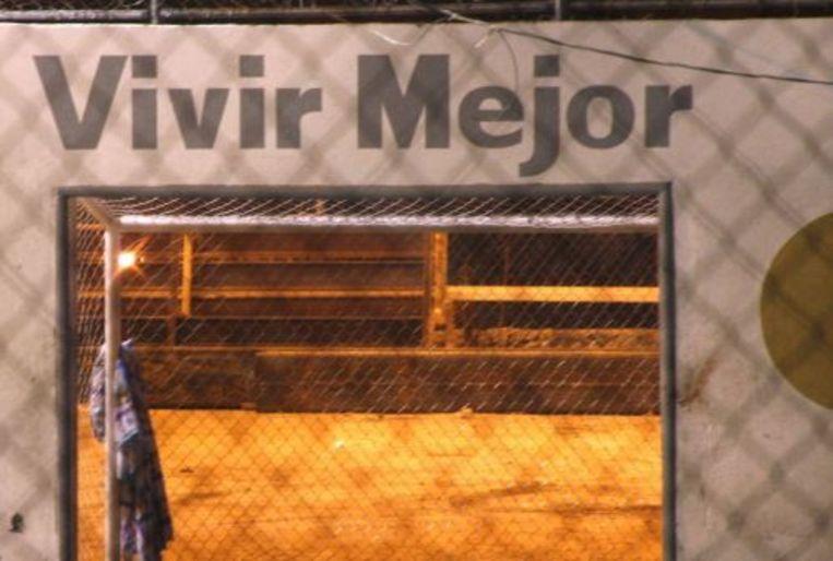Het voetbalveldje in de noord-Mexicaanse grensstad Ciudad Juárez. EPA Beeld