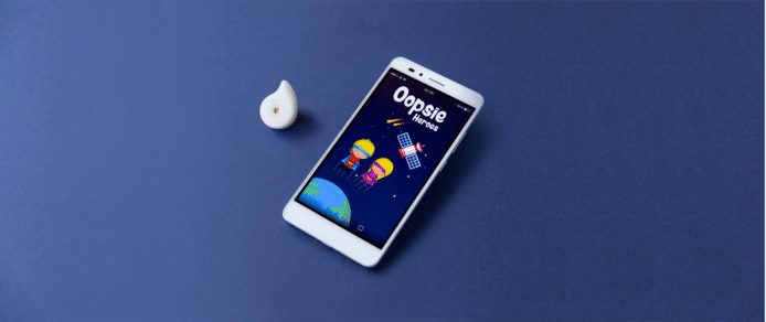 De sensor en app van Oopsie Heroes.