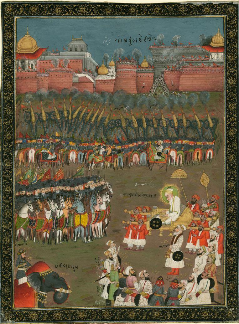 Aurangzeb en zijn troepen bij de belegering van de stad Golconde in 1687 (achttiende-eeuws schilderij) Beeld