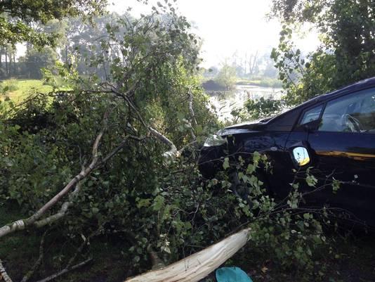 Een boom viel ook op de auto van het pasgehuwde koppel.