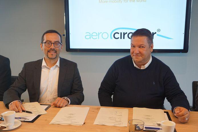 OOSTENDE - Aerocircular mag op de luchthaven van Oostende vliegtuigen van Lufthansa ontmantelen, zo bevestigen Fabricio La Banca van Lufthansa en Koen Staut, CEO van Aerocircular (rechts)