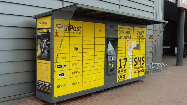 Kluisjes van de Poolse pakketbezorger InPost, het bedrijf kondigde woensdag aan naar de beurs in Amsterdam te gaan. Beeld