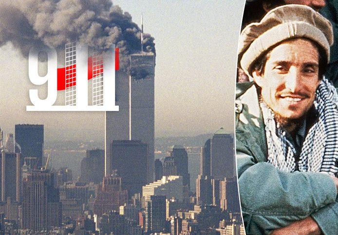 De brandende Twin Towers in New York en de Afghaanse verzetsheld Ahmad Shah Massoud.