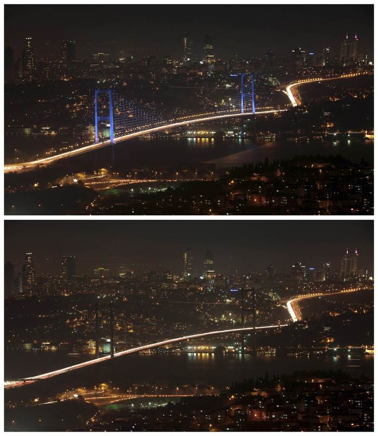 De Bosporusbrug, die het Europese deel van Istanboel verbindt met het Aziatische deel. Beeld reuters