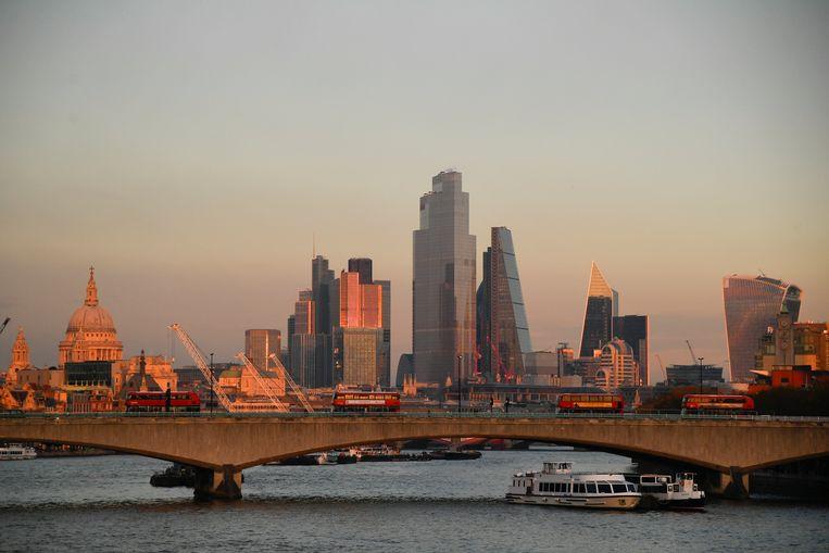 Zicht op het 'financial district' in Londen, het hart van de Britse economie.  Beeld Reuters