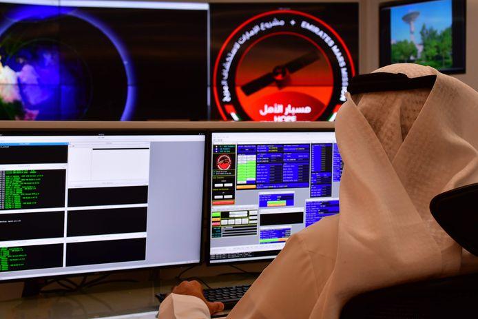 De Arabische Mars-missie wordt gevolgd vanuit het Mohammed Bin Rashid Space Centre (MBRSC) in Dubai.