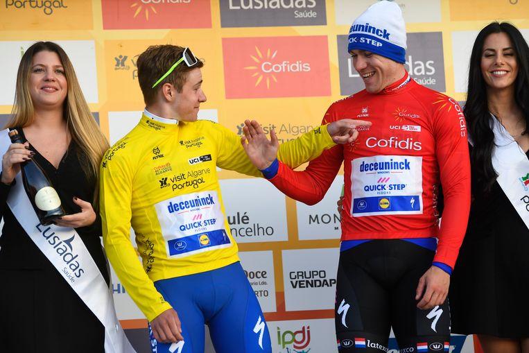 Jakobsen met Remco Evenepoel in de Ronde van de Algarve.