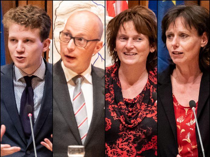 De fractievoorzitters van de vier coalitiepartijen in de Amersfoortse politiek. Vanaf links Tyas Bijlholt (D66), Maarten Flikkema (VVD), Simone Kennedy (ChristenUnie) en Dillian Hos (GroenLinks).