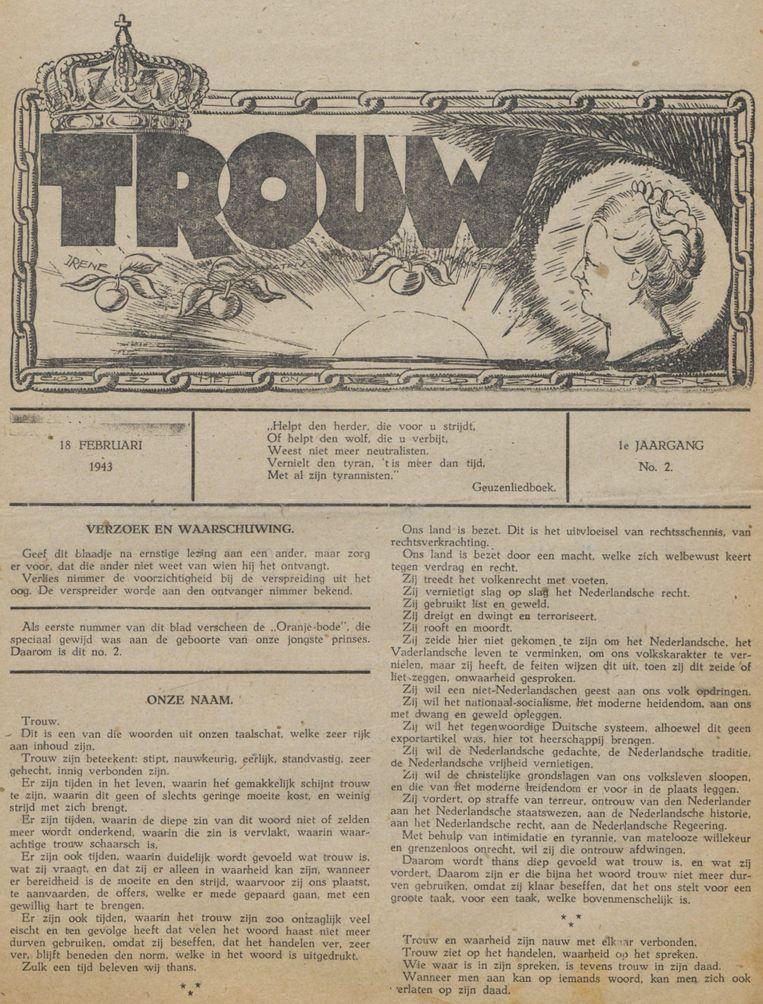 De eerste editie van Trouw, 18 februari 1943 Beeld Trouw