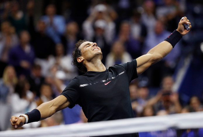 Rafael Nadal is blij met zijn finaleplaats bij de US Open.