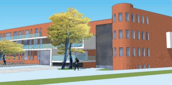 Een simulatiebeeld van de nieuwbouw.