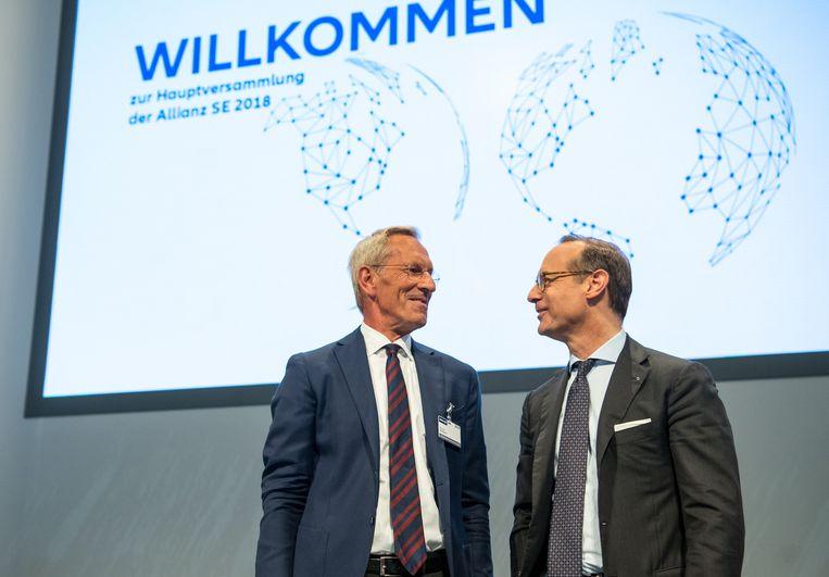 Oliver Bäte (r.), topman van verzekeraar Allianz, was vorig jaar de tweede best verdienende Duitse topmanager, met een loon van 10,33 miljoen euro.