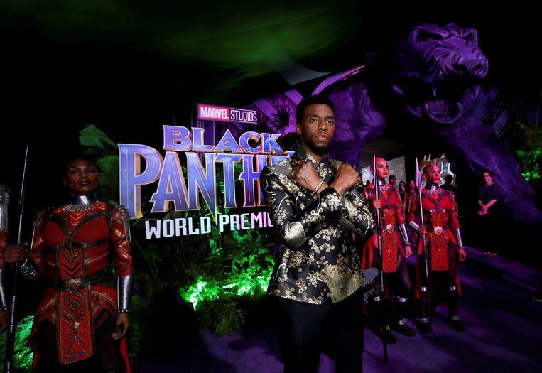 Chadwick Boseman bij de première van 'Black Panther' in Los Angeles. Beeld REUTERS