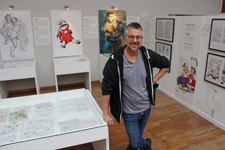 Striptekenaar Charel Cambré: 'Ik ben een te ambitieus dier. Daarom ben ik nogal overaanwezig.' Beeld Comics Art Museum / Daniel Fouss
