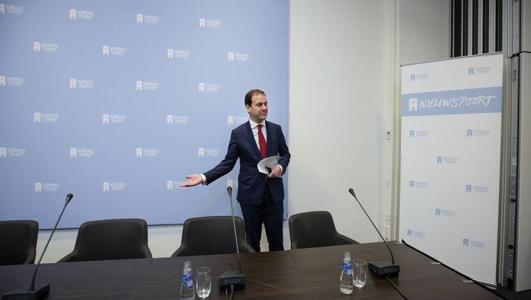Minister Asscher donderdagochtend tijdens een persconferentie over zijn wijziging in de Wet Werk & Zekerheid Beeld anp