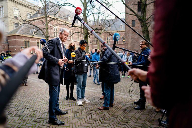 Minister Arie Slob van Onderwijs (ChristenUnie) dinsdag op het Binnenhof. Beeld ANP