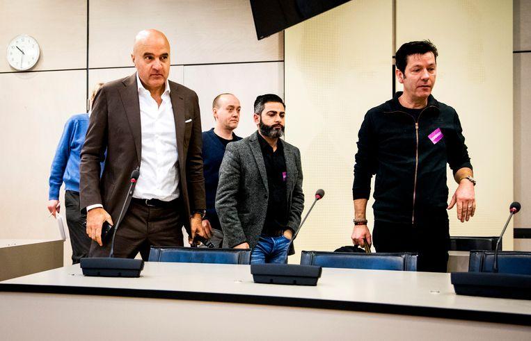 Van links naar rechts: Misdaadjournalisten John van den Heuvel en Paul Vugts, journalist Danny Ghosen en cameraman Eric Feijten tijdens een rondetafelgesprek in de Tweede Kamer over de bedreiging en bescherming van journalisten op 14 maart 2018 Beeld ANP