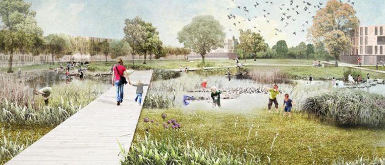 Een simulatiebeeld van het parkgedeelte in het oorspronkelijke voorontwerp.
