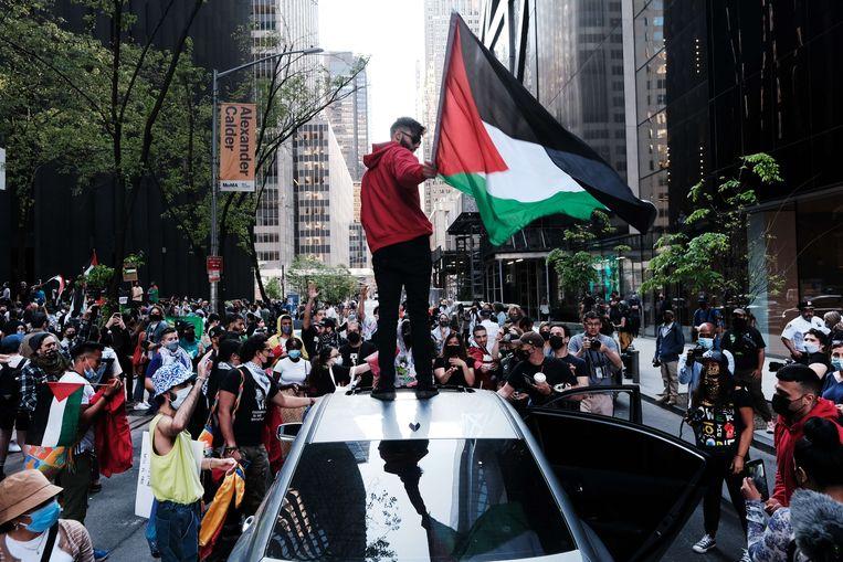 Een pro-Palestijnse demonstratie in New York.  Beeld AFP