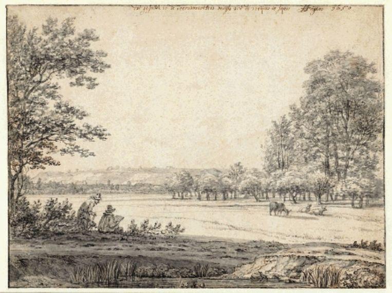 Joris van der Haagen, Gezicht in de omgeving van Doorwerth, pen in bruin, penseel in grijs, 1650. (Trouw) Beeld