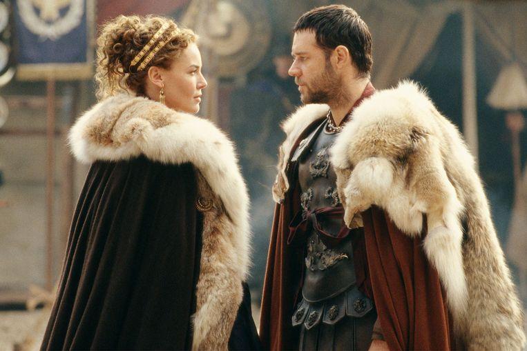 Connie Nielsen en Russell Crowe in Gladiator van Ridley Scott. Beeld