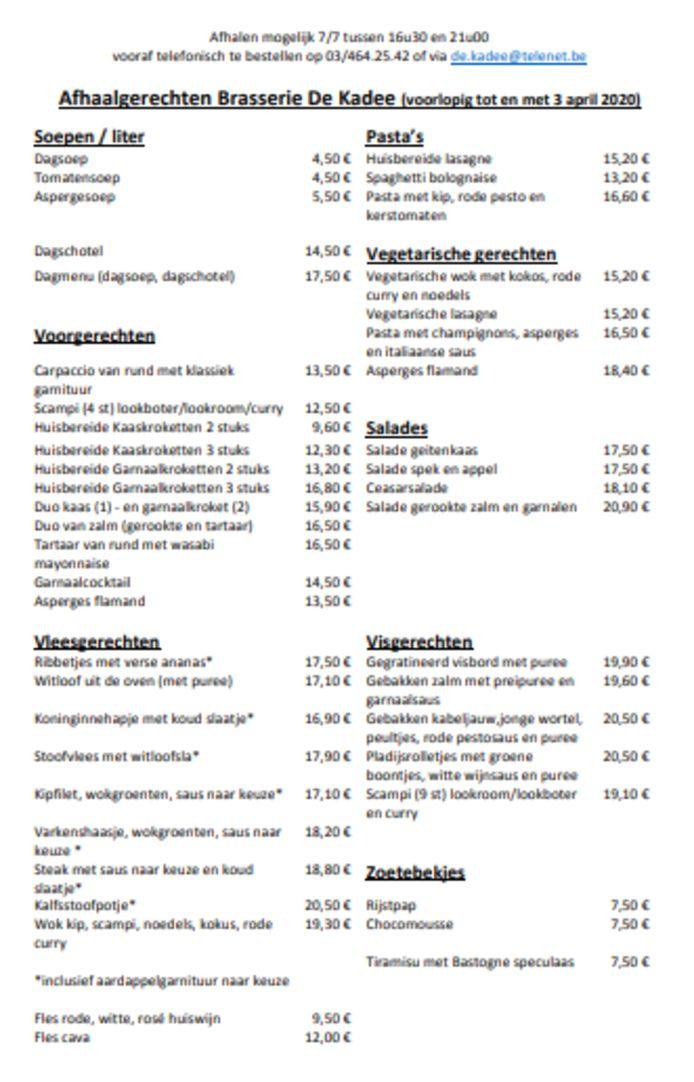 Menu afhaalgerechten Brasserie De Kadee